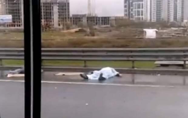 Смертельное ДТП на КАД: грузовик опрокинул фургон, и из него на дорогу вылетел человек