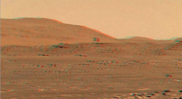 NASA предлагает посмотреть на полёт марсианского вертолёта Ingenuity в 3D