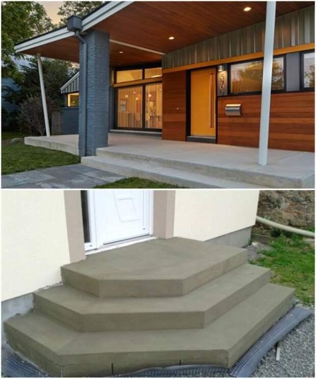 Самый простой способ создания порога и ступеней – это монолитная конструкция из бетона.   Фото: istratehnik.ru.