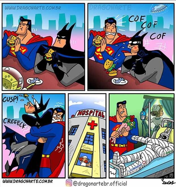 Художник высмеивает клише о супергероях и показывает «супов» в неудобных, но смешных ситуациях