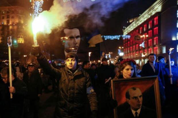 А в Киеве тем временем прошло шествие по случаю дня рождения Бандеры (видео)