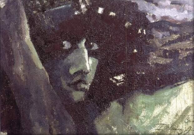 Михаил Врубель. Голова Демона на фоне гор, 1890 г.