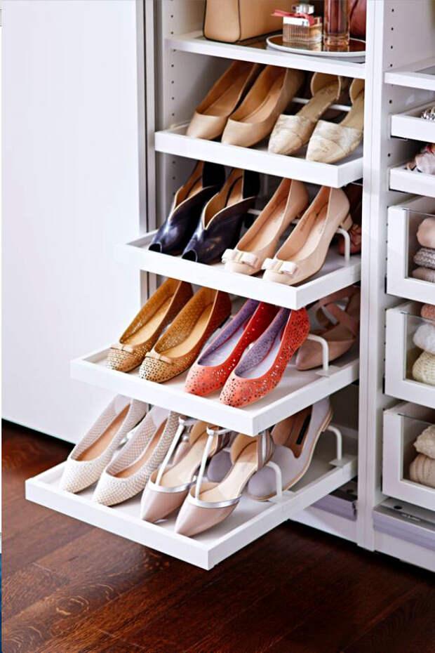 хранение обуви в интерьере