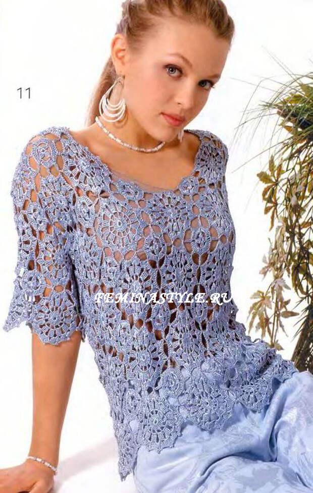 блузка,связанная крючком