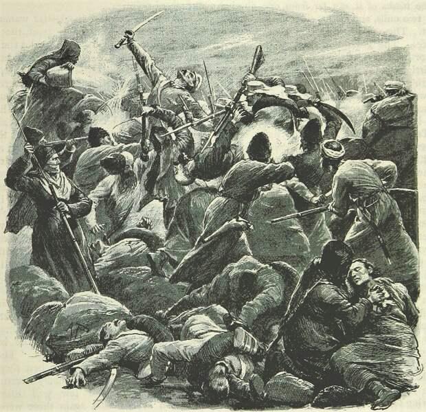 Бой текинцев с русскими (рисунок из английского журнала).