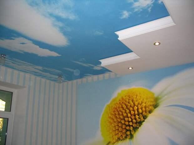 потолок с фотопринтом небо