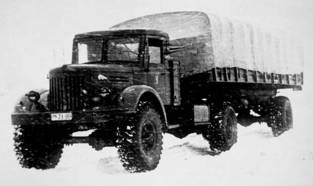 Седельный тягач МАЗ-502В с одноосным активным полуприцепом (из архива НИИЦ АТ) авто, автопоезд