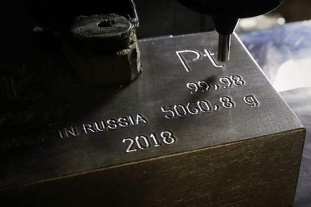 A machine engraves information on an ingot of 99.98 percent pure platinum at the Krastsvetmet non-ferrous metals plant, one of the world's largest producers in the precious metals industry, in the Siberian city of Krasnoyarsk, Russia November 22, 2018. Picture taken November 22, 2018. REUTERS/Ilya Naymushin