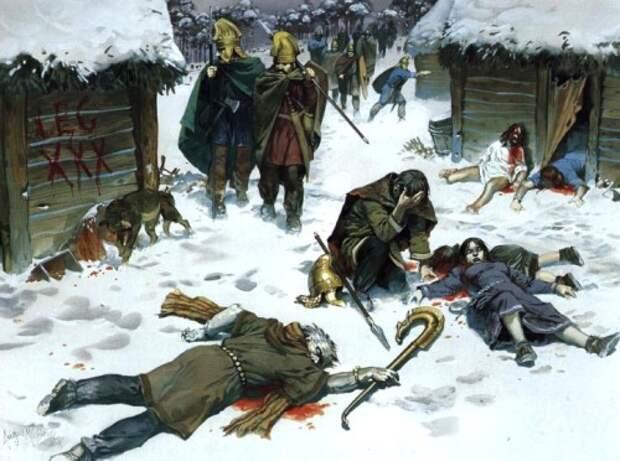 Кельты, служащие в армии Рима, сжигают деревню маркоманов (конец II в.н.э.)