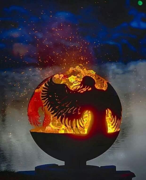 Помимо тепла, чаша для огня создаст дополнительный уют и атмосферу. искусство, камины, красота, огонь, улица, чаша
