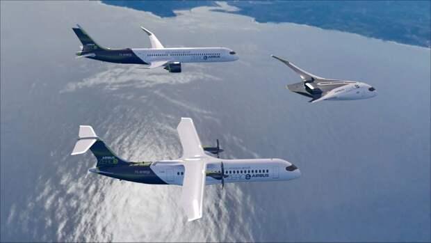 Airbus продемонстрировала три варианта водородных самолетов, повторив решения КБ Туполева 1980-х