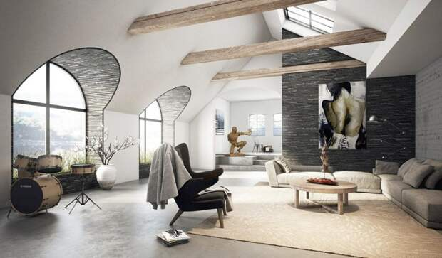 Один из лучших вариантов оформления гостиной, что станет просто лучшим решением для оформления комнаты под чердаком.