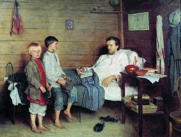 У больного учителя. Н. П. Богданов-Бельский, 1897 год. | Фото: allpainters.ru.