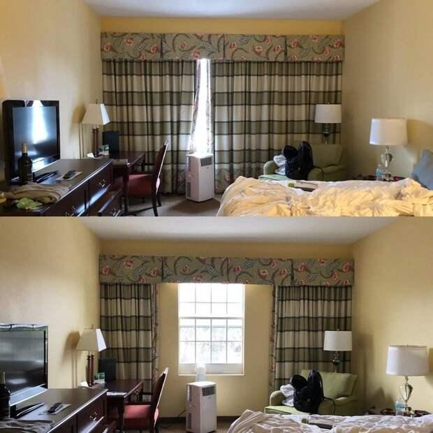 В рекламном проспекте гостиницы было написано, что окно занимает всю стену