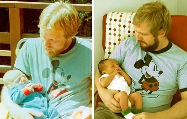 12. Папа (слева) и сын (справа) держат своих сыновей в одном и том же возрасте (им по 29 лет, малышам на фото по паре недель от роду). отцы и дети, прикол, фото