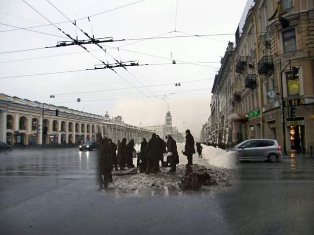 Ленинград 1941-2009 Невский проспект-Садовая улица.У водоразборной колонки блокада, ленинград, победа