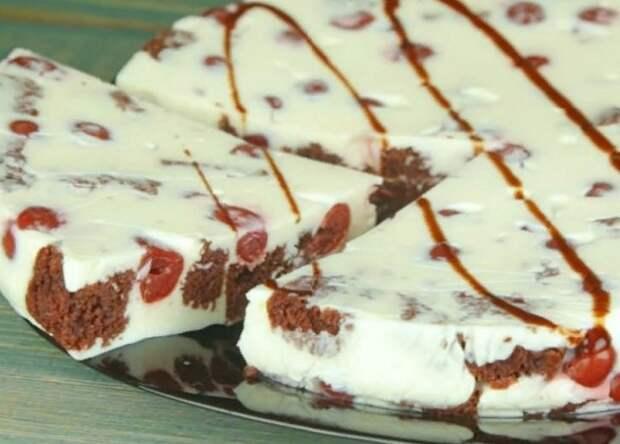 Обалденный торт-суфле с бисквитом и вишнями