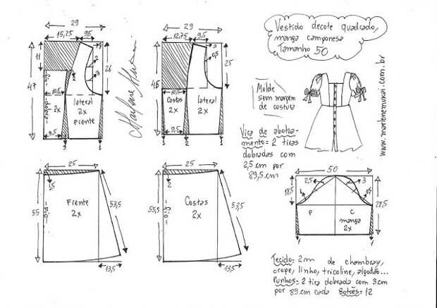 Выкройка платья с квадратным вырезом