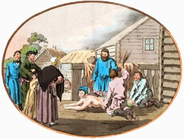 Наказание крепостной. Гейслер Христиан Готлиб Генрих, 1805 г.