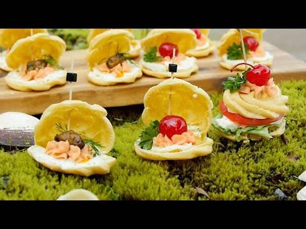 Заварное тесто с морепродуктами, жемчугом и овощным канапе - Нежные закуски