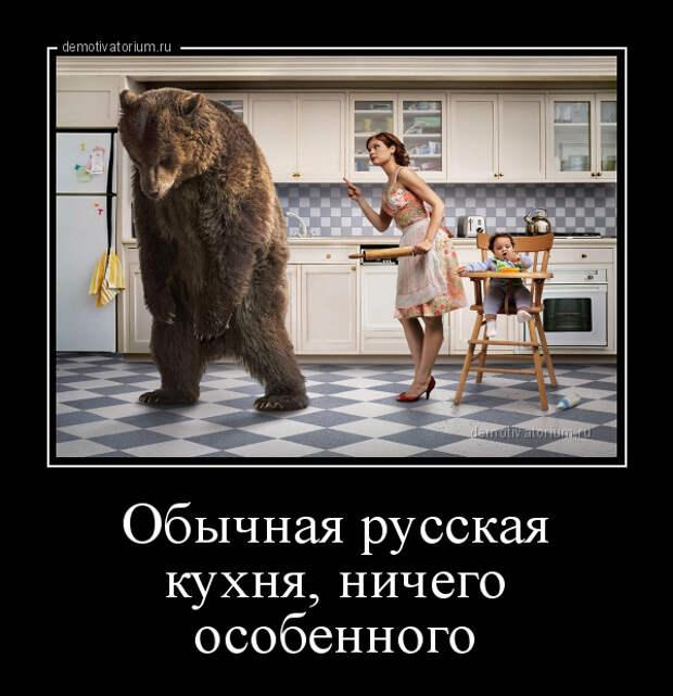 Демотиватор Обычная русская кухня, ничего особенного