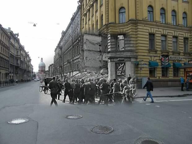 Ленинград 1942-2009 Угол Пестеля и Моховой. Пленные гитлеровцы на улицах осажденного города летом 1942 блокада, ленинград, победа