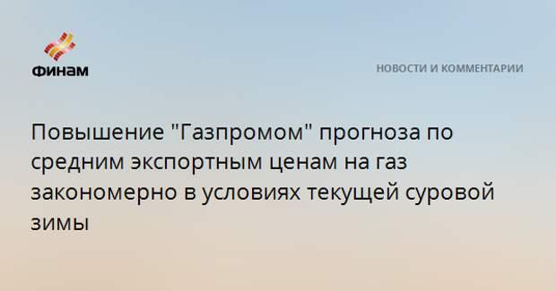 """Повышение """"Газпромом"""" прогноза по средним экспортным ценам на газ закономерно в условиях текущей суровой зимы"""