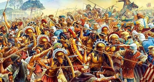 Греческие гоплиты в бою