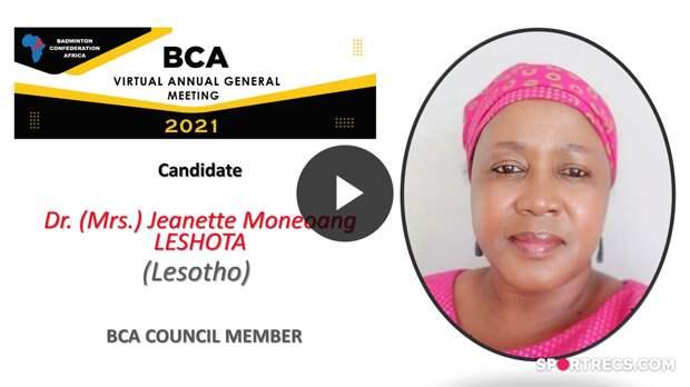 Élections du Conseil de la BCA 2021 - Moneoang Jeanette LESHOTA (LES) - Membre du Conseil