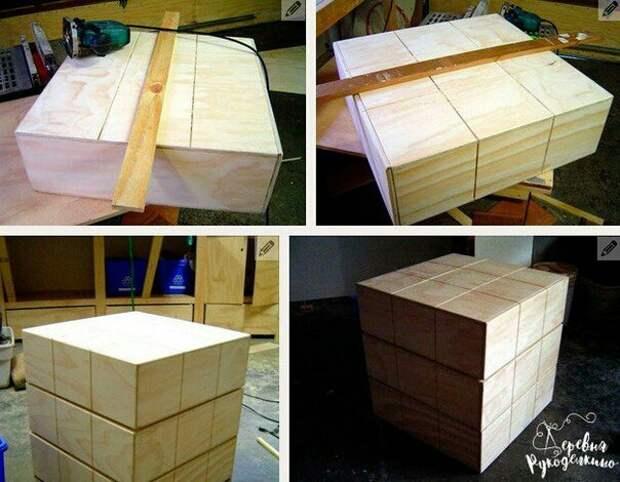 Тумбочка в виде кубика Рубика (diy)