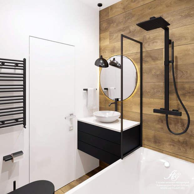 Оформление ванной комнаты с черной сантехникой
