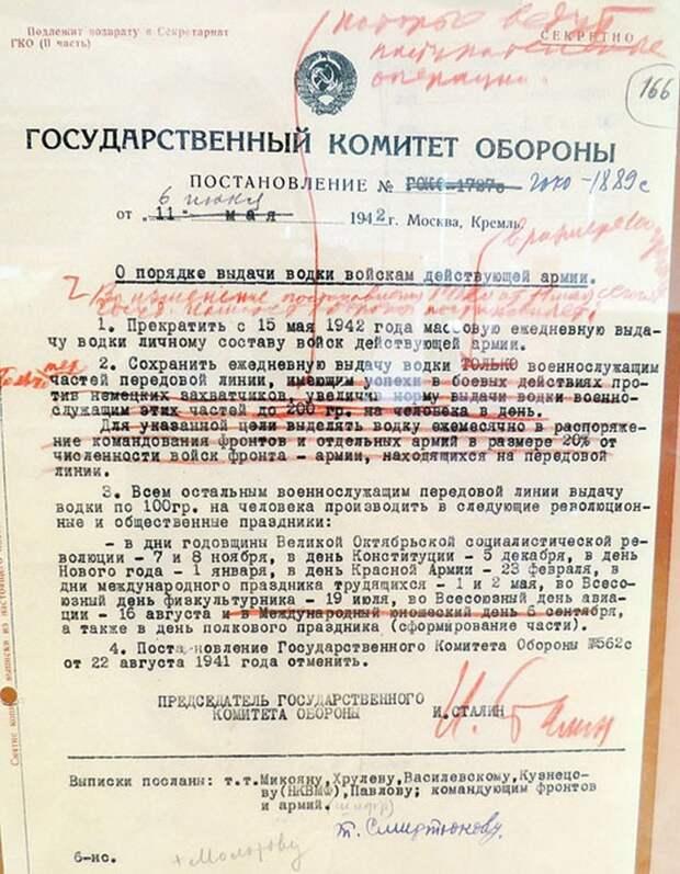Постановление Государственного комитета обороны о порядке выдачи водки войскам действующей армии.