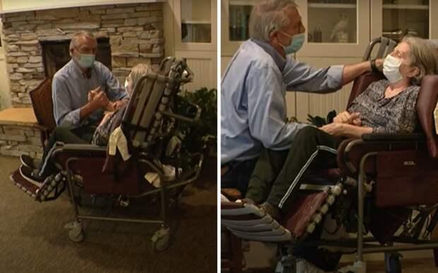 Пожилой мужчина впервые обнял свою жену после года разлуки из-за пандемии