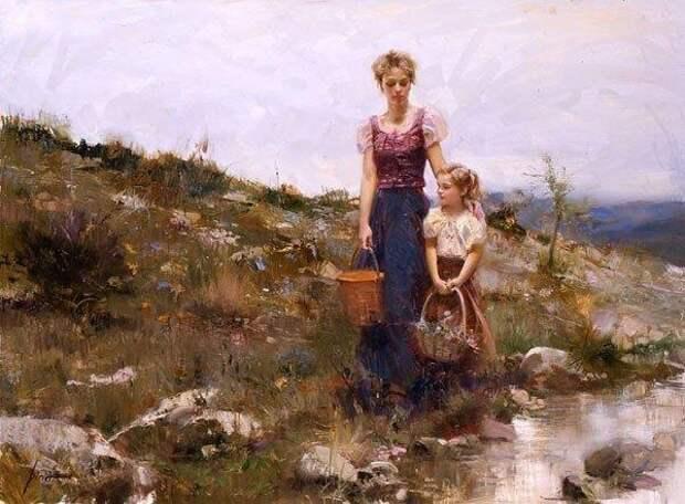 Образы матери и ребенка в картинах Pino Daeni