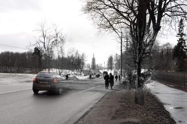 Гатчина 1942-2011 Проспект 25-го октября. Вид на Коннетабль украшенный свастикой блокада, ленинград, победа