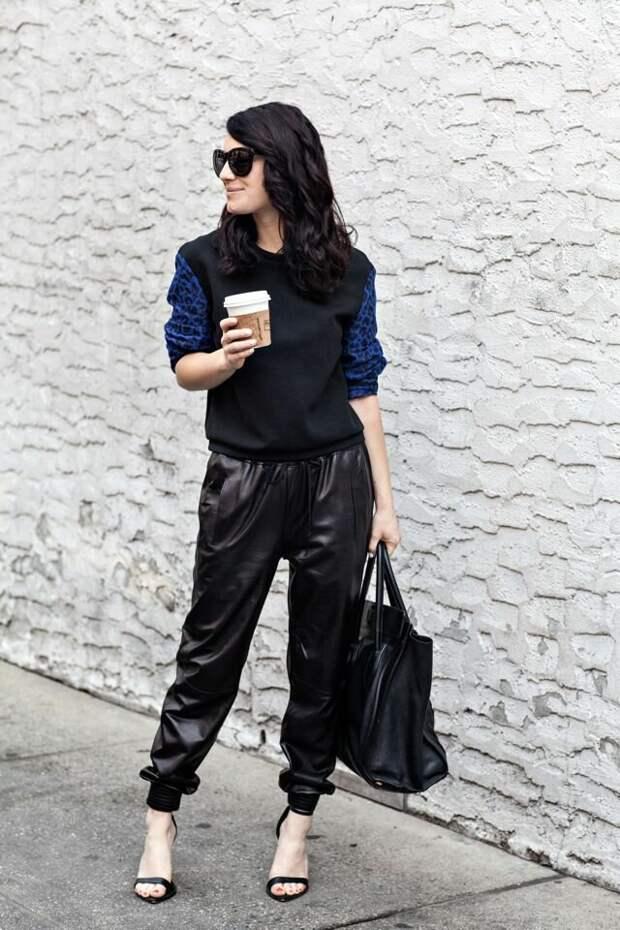 Образ с кожаными джоггерами. /Фото: i.pinimg.com