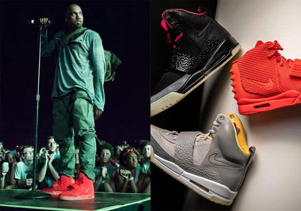 Канье Уэст и заметные Nike Air Yeezy. \ Фото: cheapsales2021.com.