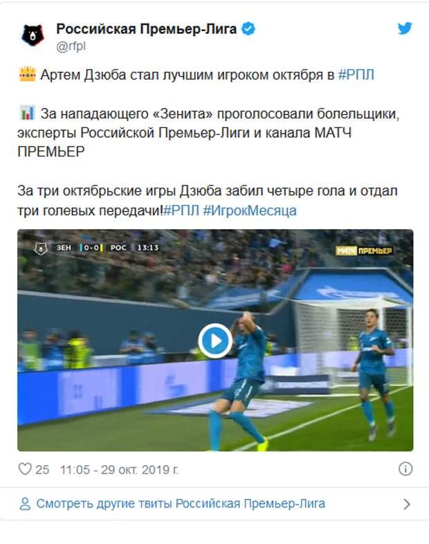 Дзюба, Семак, Жирков – лучшие в октябре
