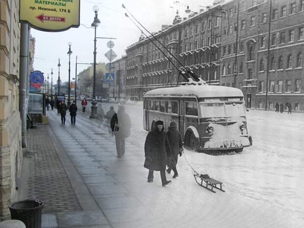 Ленинград 1942-2009 Невский 174 Троллейбусы блокада, ленинград, победа