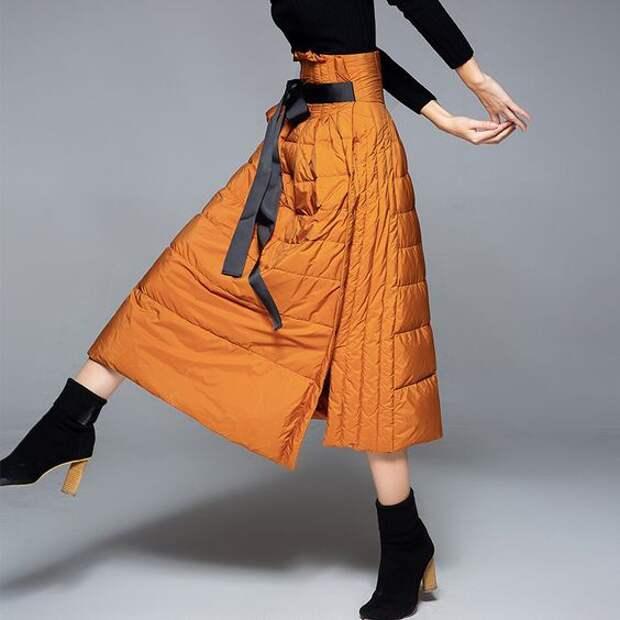 пуховик юбка