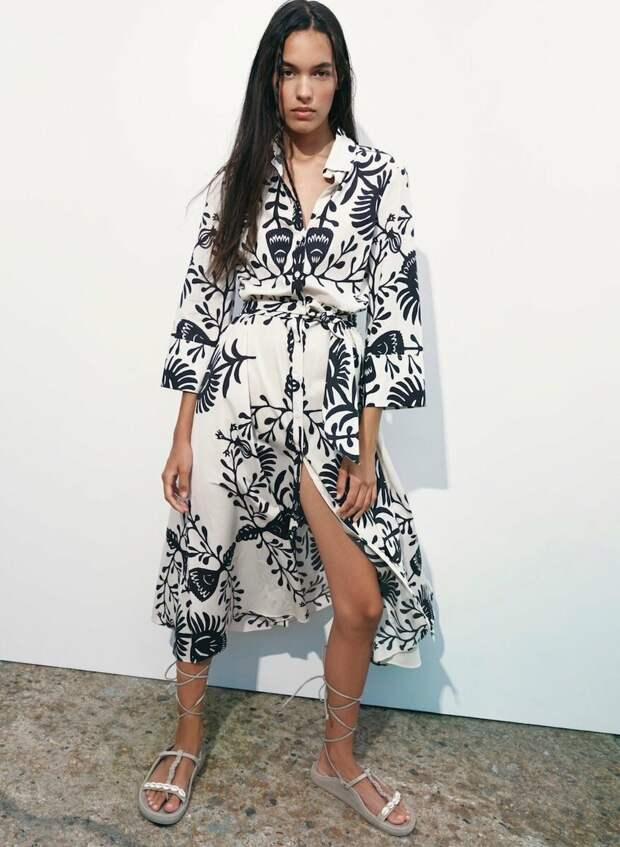 Zara Printed рубашка платье