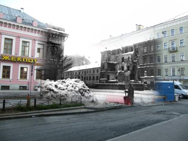 Ленинград 1943-2009 На углу Фурштатской улицы и Литейного проспекта блокада, ленинград, победа