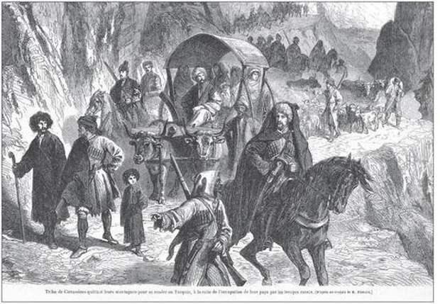 Племя черкесов покидает свои горы, направляясь в Турцию. Рисунок художника Аурелия