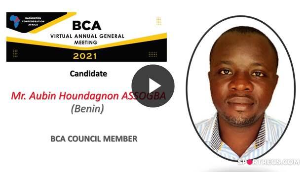 BCA Council Elections 2021 - Aubin Houndagnon ASSOGBA (BEN) - Council Member