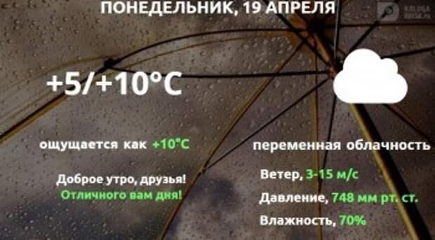 Прогноз погоды в Калуге на 19 апреля