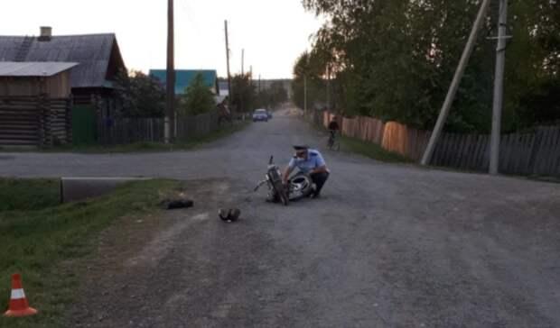 Подросток намопеде столкнулся смотоциклом в уральском поселке