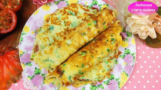 Фото к рецепту: Лепешки с  сулугуни и  зеленью на сковороде