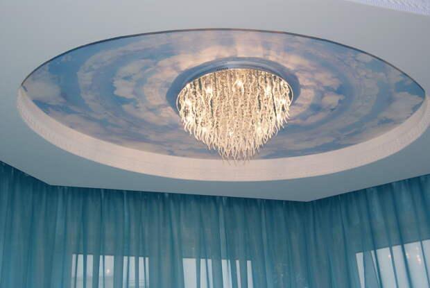 Как выбрать люстру для натяжного потолка в зал и другие комнаты (67 фото)