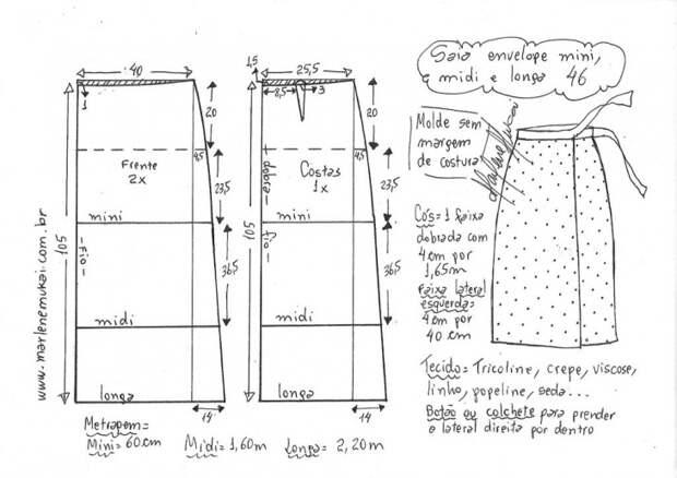 Выкройка длинной юбки с запахом