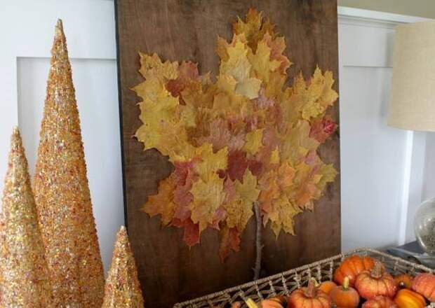 Осенний декор из листьев своими руками - аппликация